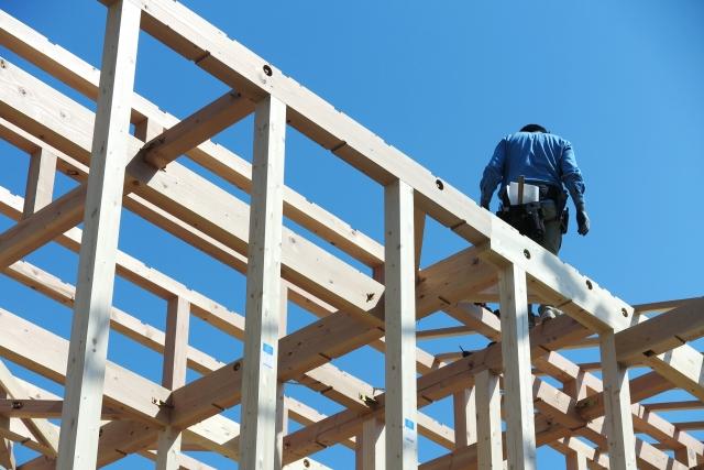 木造軸組の工事現場